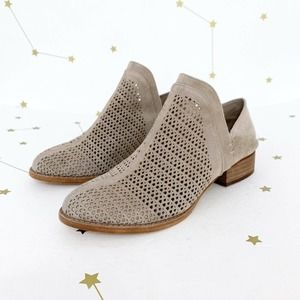 Vince Camuto • Gray Perforated Suede Ankle Booties